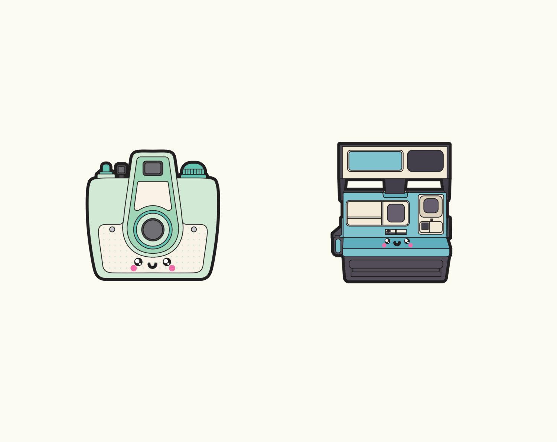 Camera clipart kawaii. Premium vector cameras clip