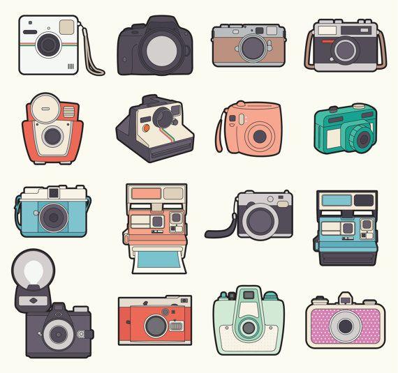 Premium vector cameras clip. Camera clipart kawaii