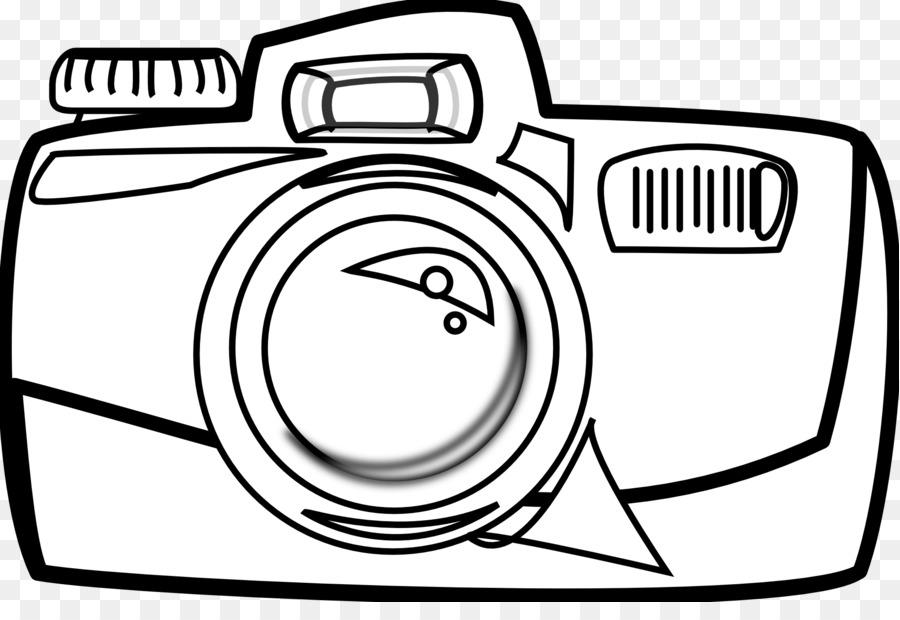 Camera clipart line art. Cartoon black and white