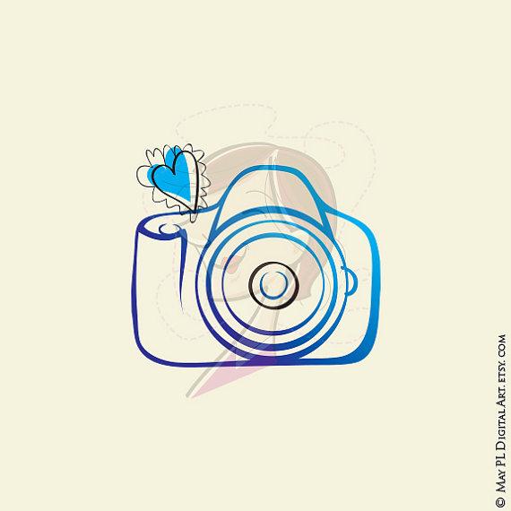 Photography diy business design. Camera clipart logo