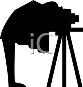 Camera clipart old fashioned. A silhouette of man