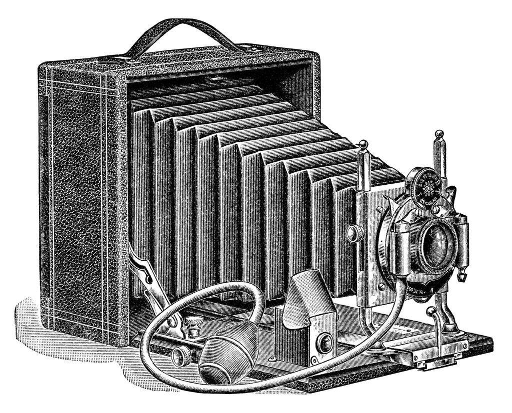 Aged paper ephemera image. Camera clipart old fashioned