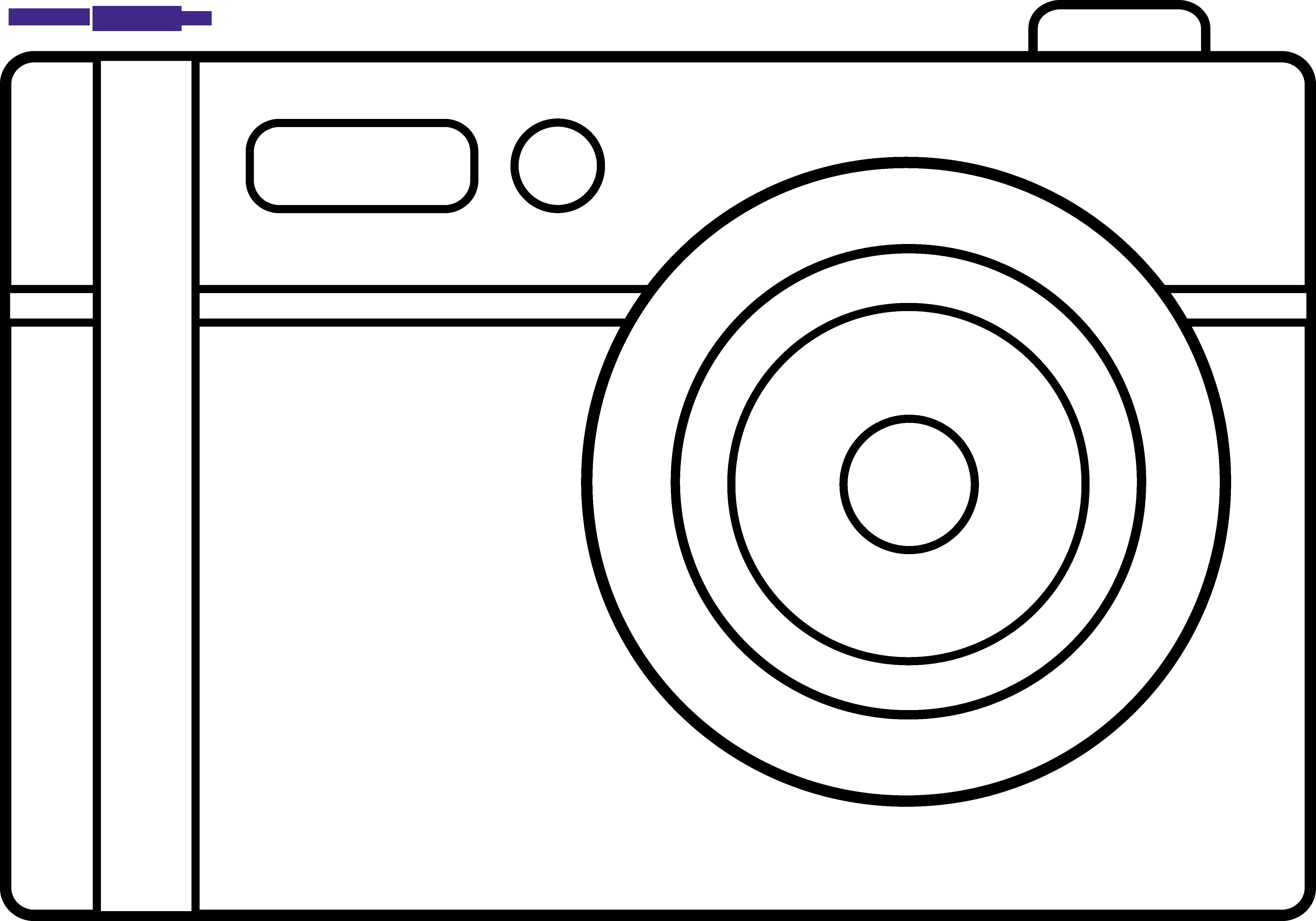 Digital sweet clip art. Camera clipart outline