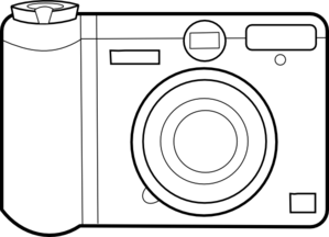 Pencil and in color. Camera clipart outline