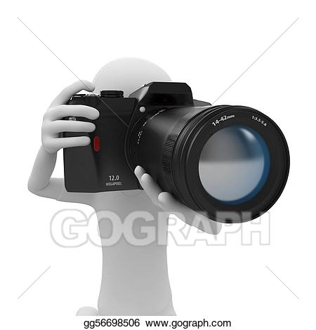 Drawing d man with. Camera clipart photo session