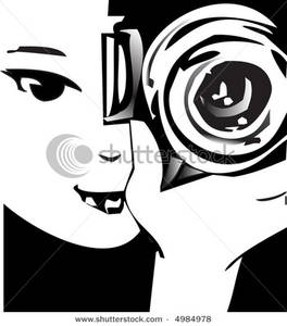 A looking through her. Camera clipart photographer