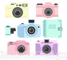 Camera clipart polaroid camera. Cute clip art retro