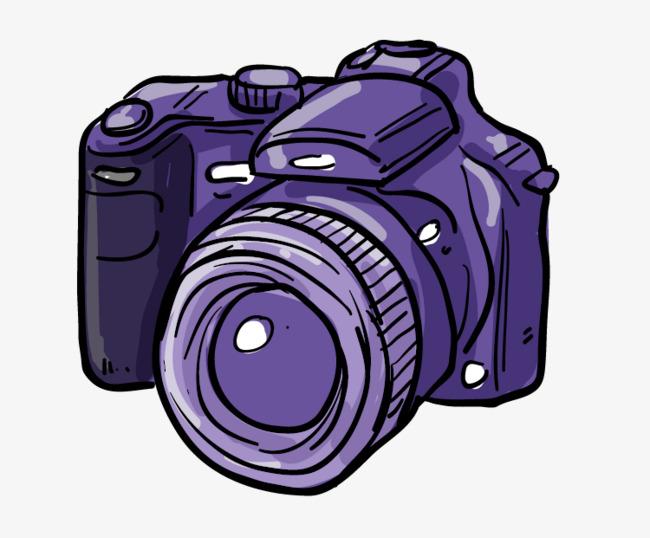 Cartoon hand painted purple. Camera clipart professional camera