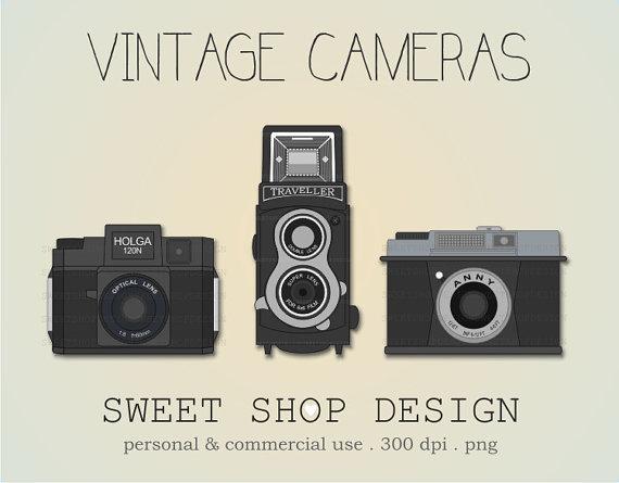 Vintage clip art ilustration. Camera clipart retro camera