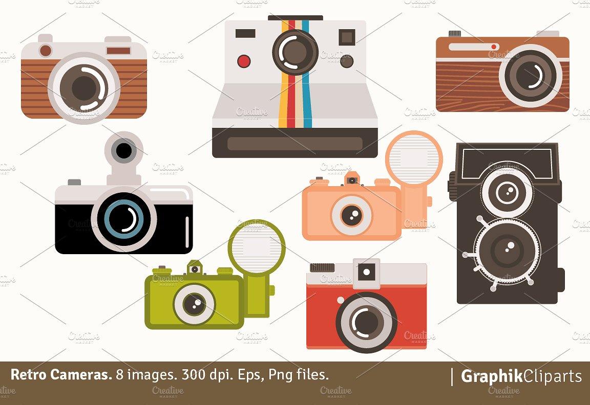 Camera clipart retro camera. Cameras illustrations creative market