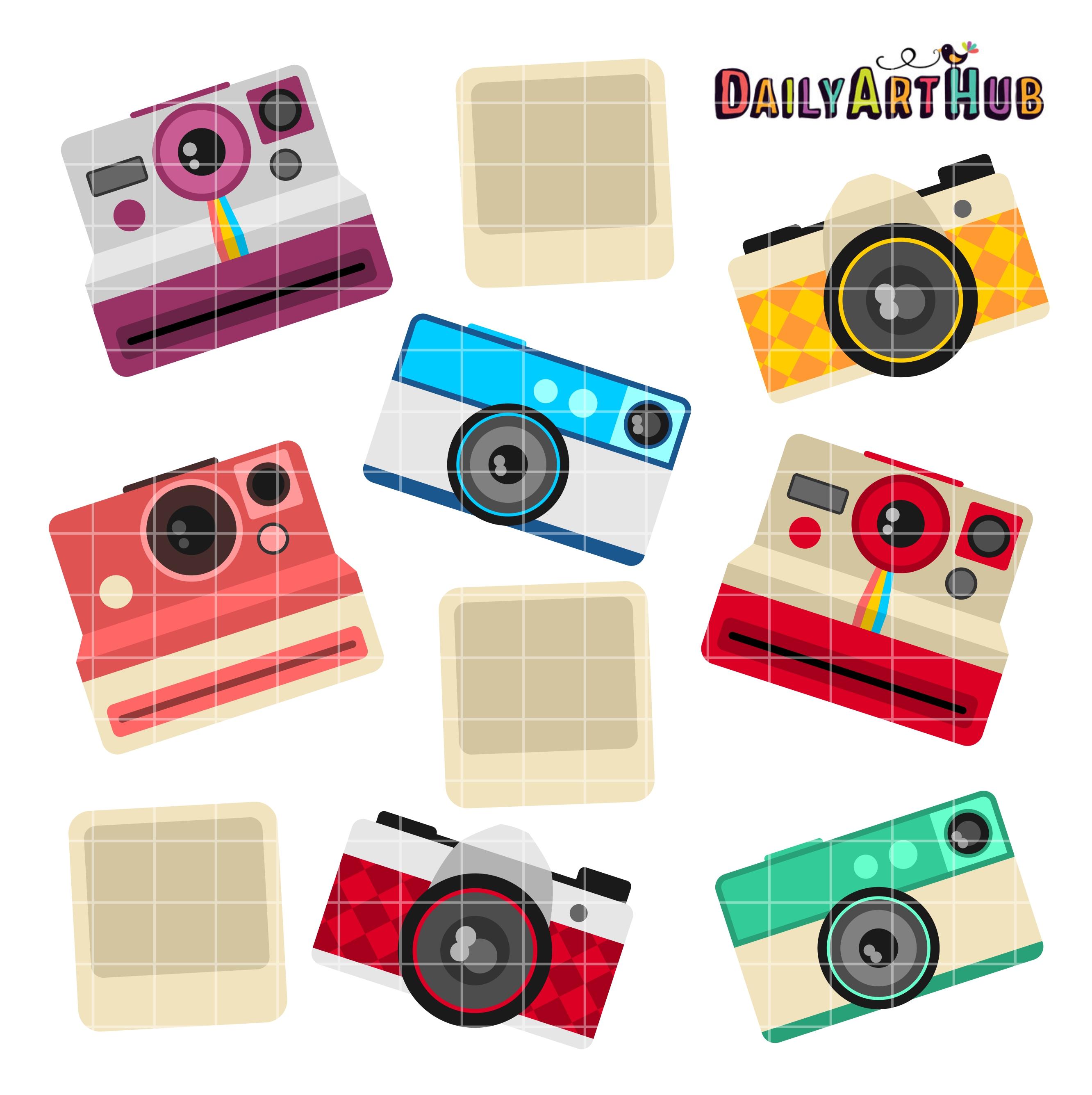 Camera clipart retro camera. Clip art set daily