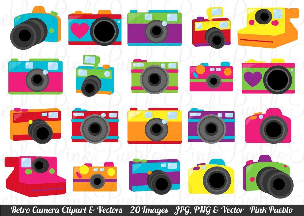 Camera clipart retro camera. Cameras clip art and