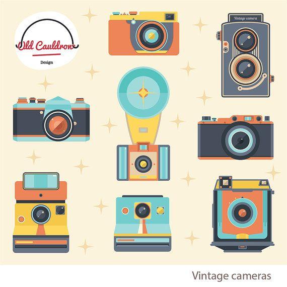Camera clipart scrapbook. Vintage photo cameras commercial