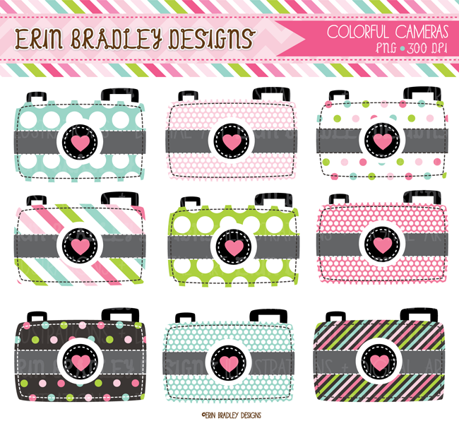 Colorful cameras personal commercial. Camera clipart scrapbook