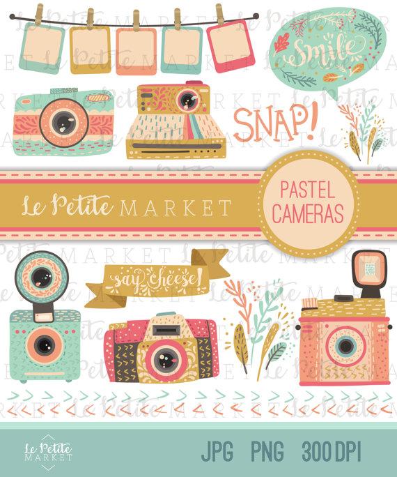 Camera clipart scrapbook. Set digital illustration pastel