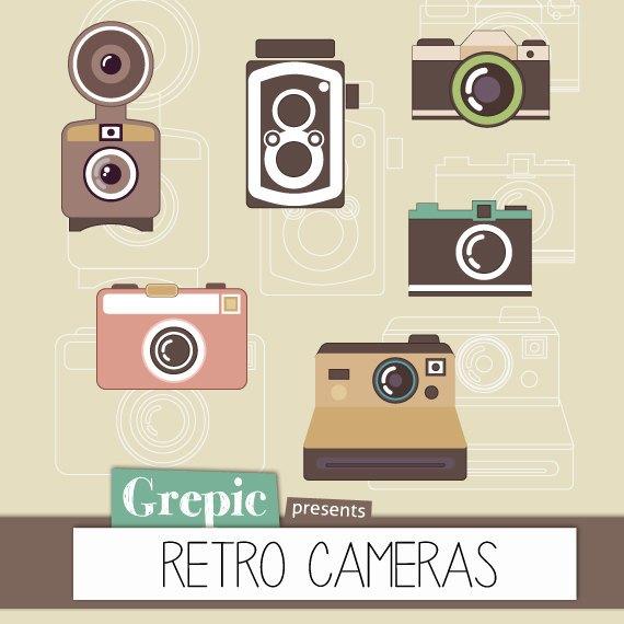 Digital retro pack cameras. Camera clipart scrapbook
