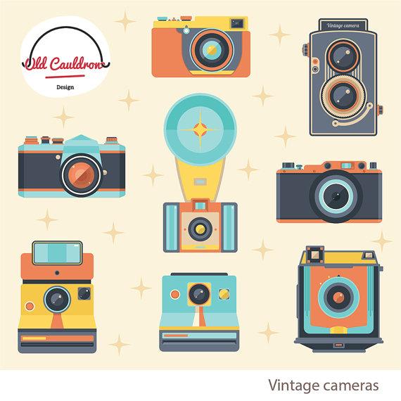 Camera clipart snapshot. Vintage photo cameras commercial