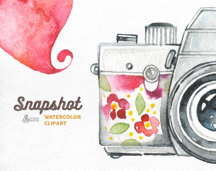 Camera clipart snapshot. Watercolor handpainted cameras wedding