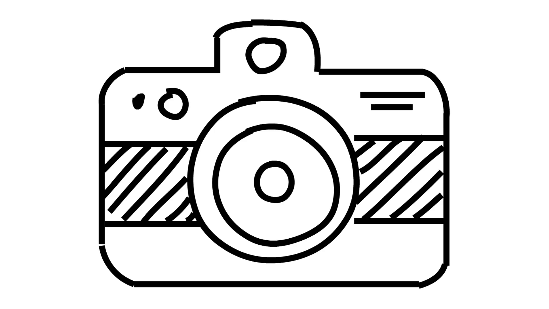 Camera clipart transparent background. Line drawing illustration animation