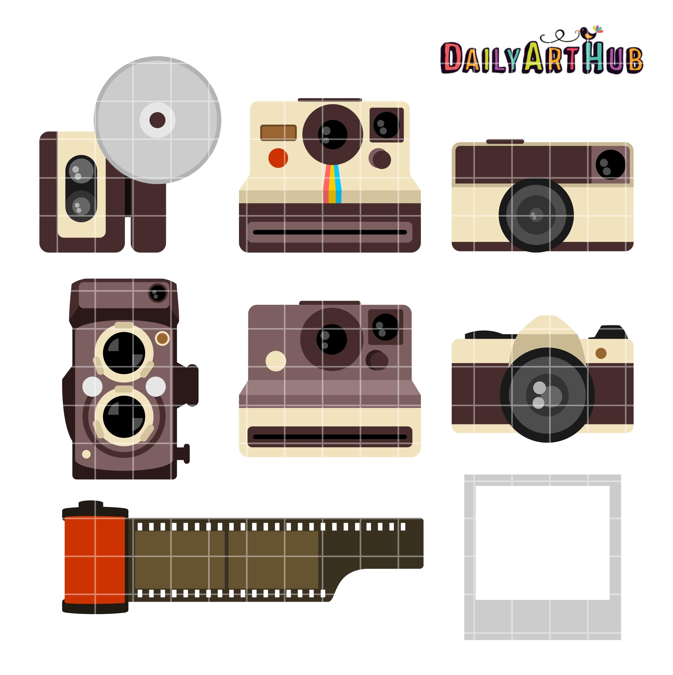 Clip art set daily. Camera clipart vintage camera