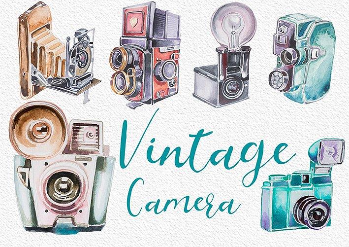 Watercolor vintage illustrations creative. Boho clipart camera