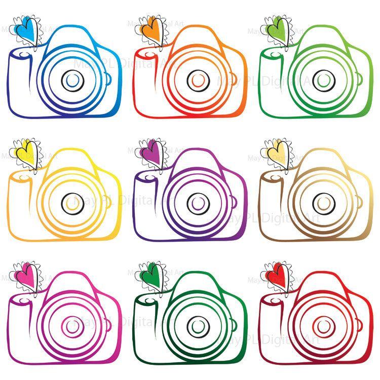 Photography diy business logo. Camera clipart wedding