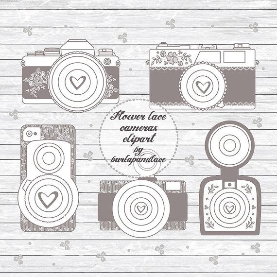 Camera clipart wedding. Rustic cameras shabby chic