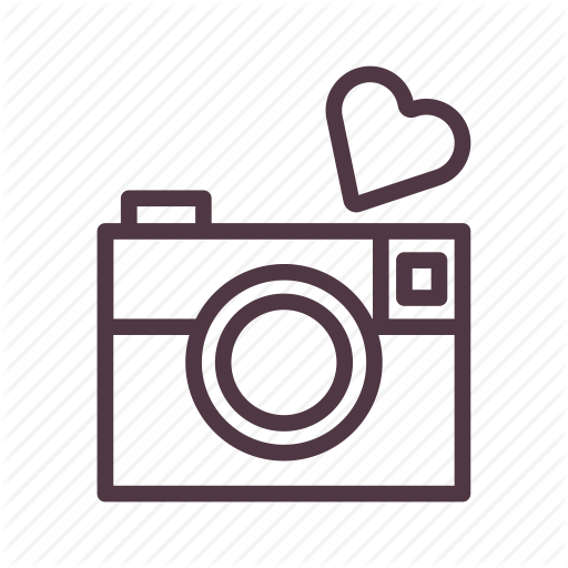 Camera icon png. Valentine bold line by