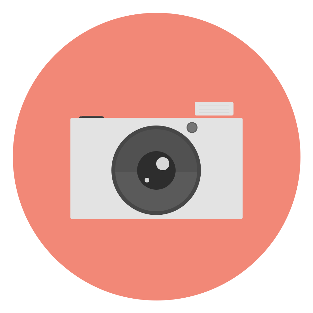 Camera png icon. Flat designed circle by