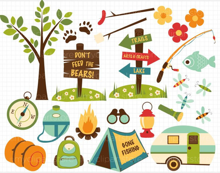 Camping clip art with. Camper clipart border