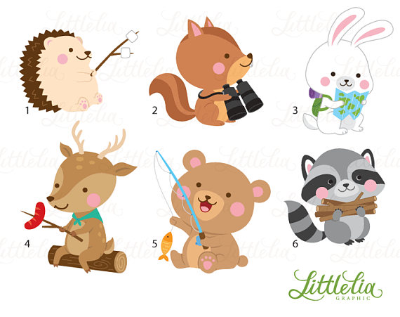 Woodland animal summer camping. Clipart animals camp
