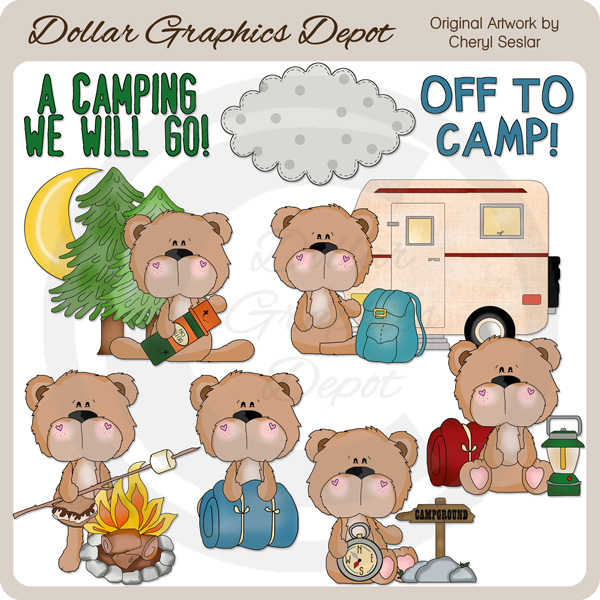 Camp clipart animal. Bobo bear goes camping