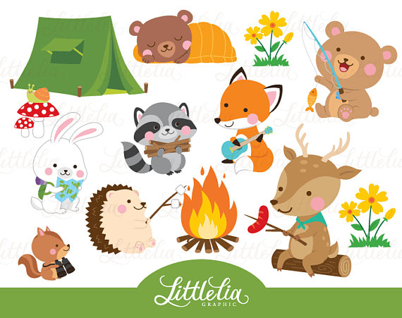 Clipart animals camp. Woodland animal summer camping