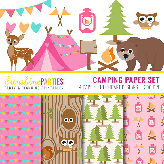 Camp clipart backyard camping. Girls party and digital