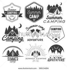 Camp clipart badge. Camping badges set graphics