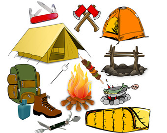 Boy trip cute digital. Bag clipart camp