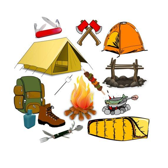 Camp clipart bag. Camping clip art summer