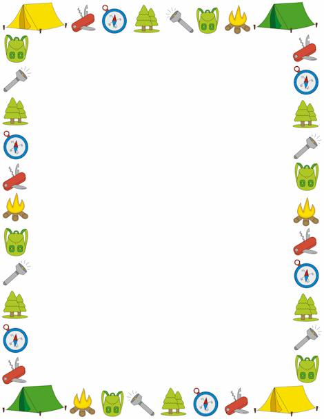 Campfire clipart border. A page with camping