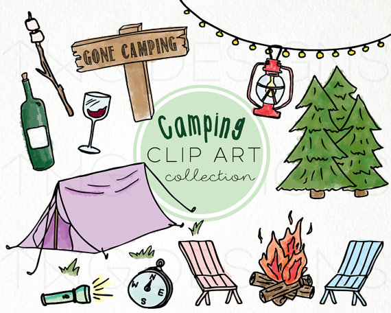 Hand drawn clip art. Camp clipart camping holiday