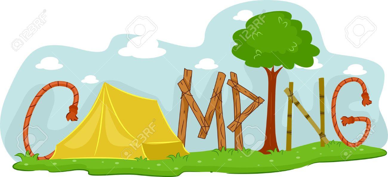 Smartness design summer border. Camp clipart campsite