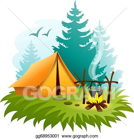 Camping in forest with. Campfire clipart vector