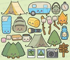 Hiking icons set equipment. Camping clipart base camp