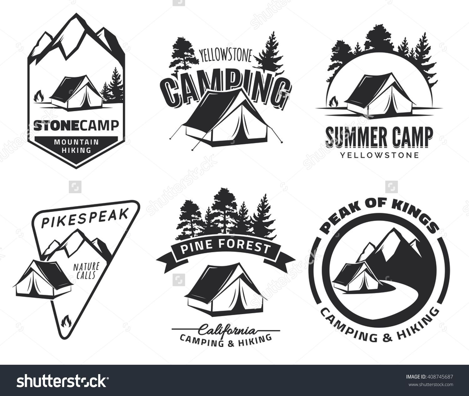 Badge clipart camping. Set of vintage and