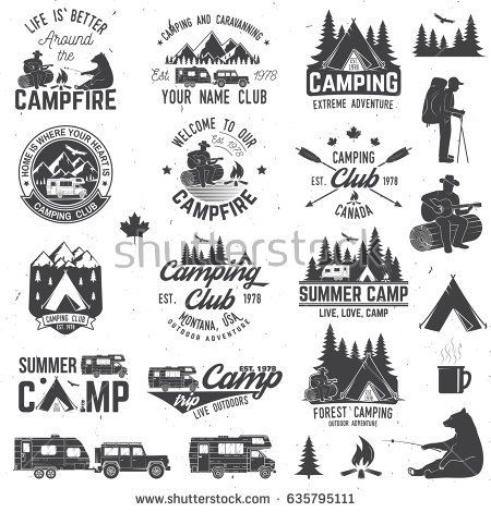 Summer camp with design. Campfire clipart vintage