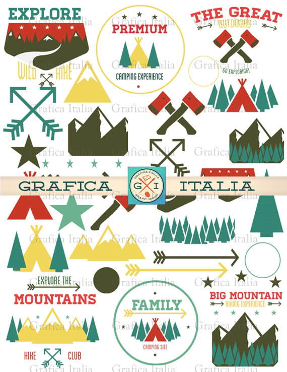 Camping cabin design elements. Outdoors clipart
