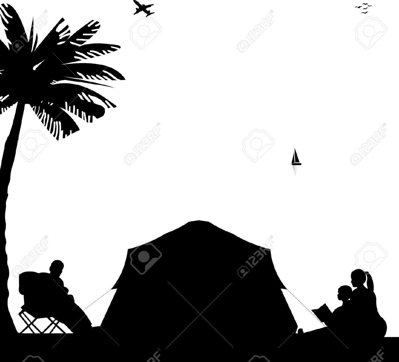 collection of camping. Camp clipart silhouette