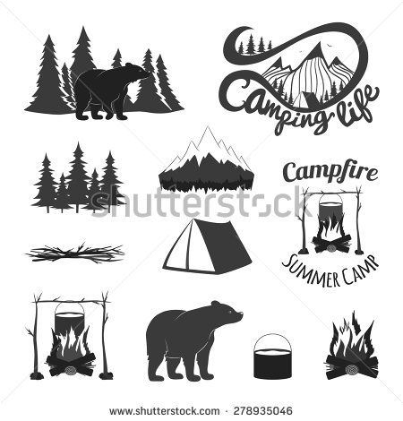 Campfire clipart vintage. Vector set of icons