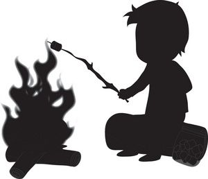 Bonfire clipart silhouette. Camping image of a