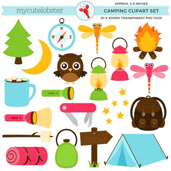 Camping set torch lantern. Camp clipart tent
