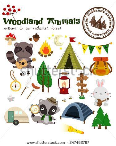 Camp clipart woodland. Animal camping vector set